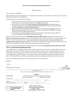hoa invoice template  Fillable Online Letter from Vice President and Sample HOA Invoice ...