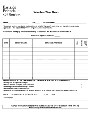 Volunteer Time Sheet - Supporting Senior Independence - eastsidefriendsofseniors