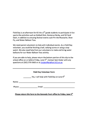 Field Day Volunteer Form - Grafton School District - kes grafton k12 wi