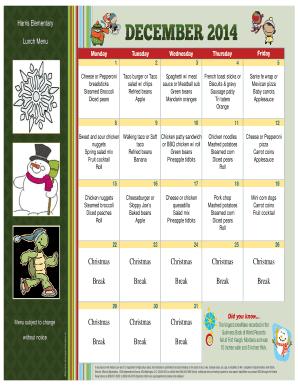 December Lunch Menu - Harris Elementary School Fill Online