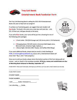 Troy Colt Bands Entertainment Book Fundraiser bFormb - troycoltbands