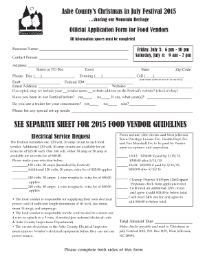 See separate sheet for 2015 food vendor guidelines - Christmas in July