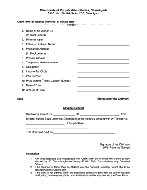 punjab state lotteryfilling the claim form