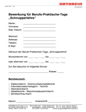 fill online - Bewerbung Adresse
