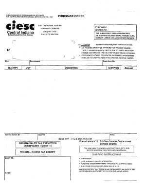 FORM APPROVED BY STATE BOARD OF ACCOUNTS PURCHASE ORDER C - ciesc k12 in