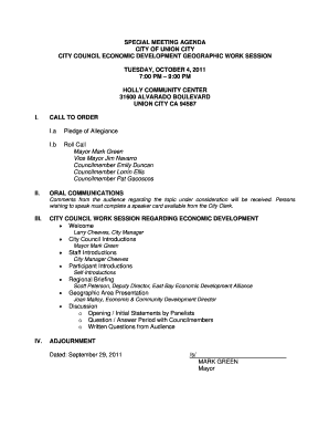 Special meeting agenda city of union city city council economic ...