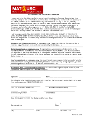 BACKGROUND CHECK DISCLOSURE FORM - Info Cubic LLC