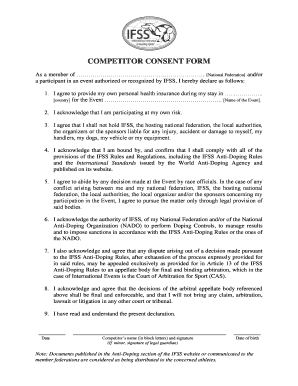COMPETITOR CONSENT FORM - International Federation of - sleddogsport