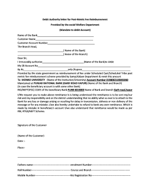 Fillable Online Debit Authority letter for Post-Metric Fee