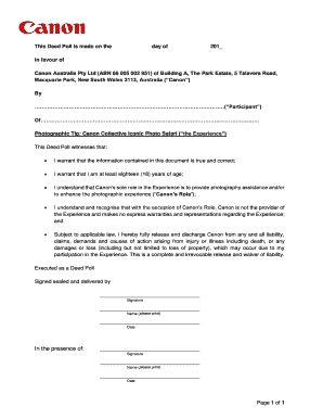 Fillable Online Canon deed poll form - Iconic Images International ...