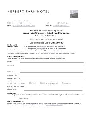 Fillable Online german-irish Booking Form DELE260312 2doc - german