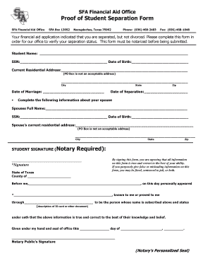 Bill of sale form florida separation agreement template fillable sfa financial aid office proof of student separation form sfa financial aid office sfa box 13052 platinumwayz