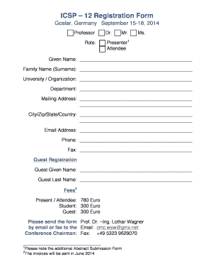 Shot List Template Mac ICSP 12 Registration Form