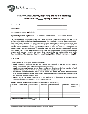 Faculty Annual Activity Reporting and Career Planning - pharmacy lau edu