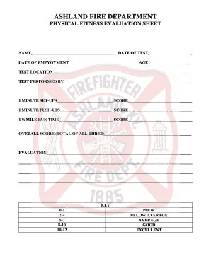 Physical fitness evaluation sheet - Ashland Fire Department