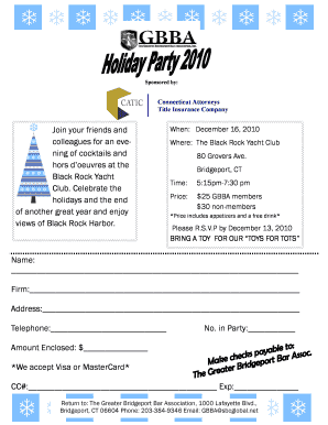 Holiday party flyer 2010 - The Greater Bridgeport Bar Association, Inc. - bridgeportbar