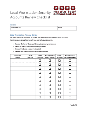 Maple Leaf Orthodontics Local Workstation Account Review Checklistdocx