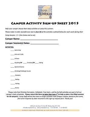 Fillable Online Campdewolfe Camper Activity Sign Up Sheet 2015