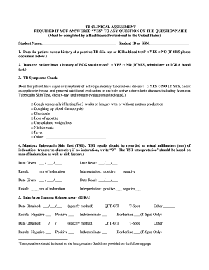 image relating to Printable Skin Assessment Form titled 1 Does the affected individual consist of a heritage of a absolutely sure TB pores and skin Fill