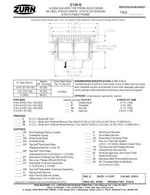 Z150-E 14 356 SQUARE TOP PROM-DECK DRAIN SPECIFICATION Fill