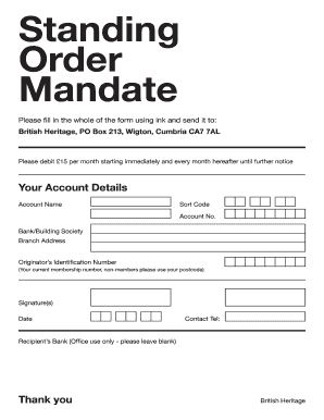 standing order mandate