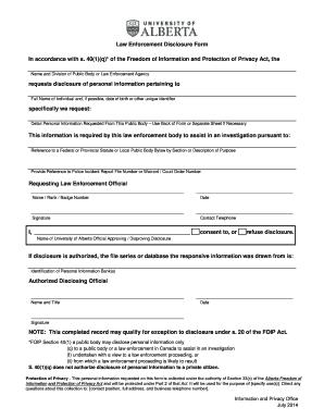 Law Enforcement Disclosure Form   University Of Alberta