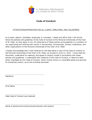 Attestation Form: Code of Conduct - Personal Ordinariate of the ... - ordinariate