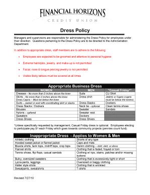 fhcunv Fillable Online fhcunv Dress Policy - Financial Horizons Credit ...