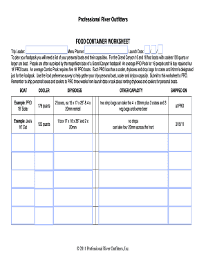 Food Container Worksheet - Professional River Outfitters