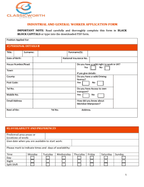 INDUSTRIAL AND GENERAL WORKER APPLICATION FORM - classicworth co