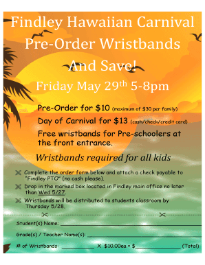 fillable online findley carnival wristbands 2015 findley