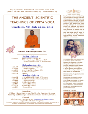 Fillable Online Kriya Charlotte Kriya Program July 2011 Pdf Kriya Yoga Fax Email Print Pdffiller