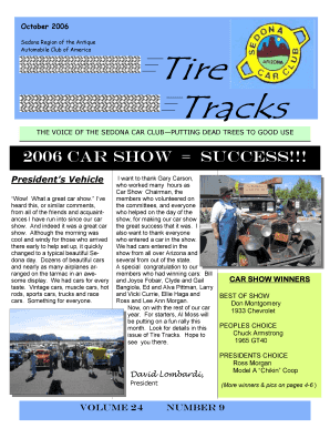 October 2006 Sedona Region of the Antique Automobile Club of America Tire Tracks THE VOICE OF THE SEDONA CAR CLUBPUTTING DEAD TREES TO GOOD USE 2006 Car show Success