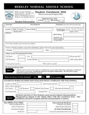Fillable Online Berkley School Enrolment Bformb 2016 Berkley