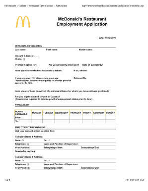 McDonalds Restaurant Employment Application - oakbay public sd61 bc