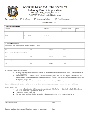 Wyoming game and fish falconry application form fill for Wyoming game and fish regulations