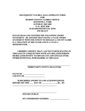 Fillable Online hccoky Delinquent tax bill sale affidavit