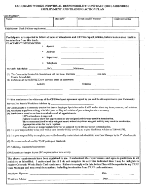 individual responsibility contract form