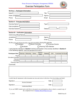 Individual Exercise Participation Form (PDF) - txdps state tx