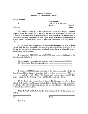 SAMPLE FORM 43. ORDER OF PROBABLE CAUSE State of ... - judicial alabama