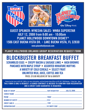 AAU Breakfast Reservation Form - image aausports
