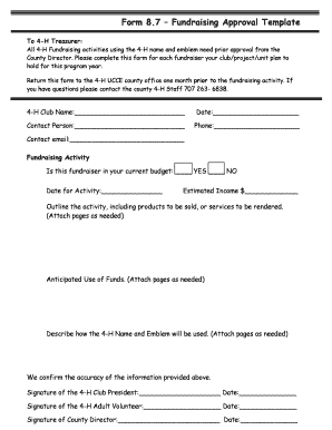 Fillable Online Form 87 Fundraising Approval Template Lake