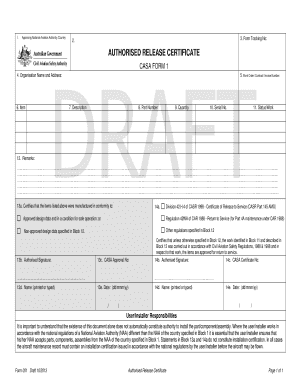 DRAFT CAAP 42W-2(6) (Form 1 -Draft) - Civil Aviation Safety Authority - casa gov