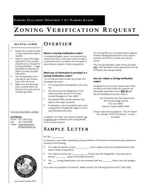 Zoning Verification Letter Fill Online Printable Fillable Blank