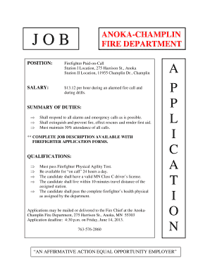Employment Application - City of Champlin