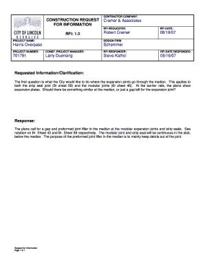 Sample Of Construction Rfi - Fill Online, Printable