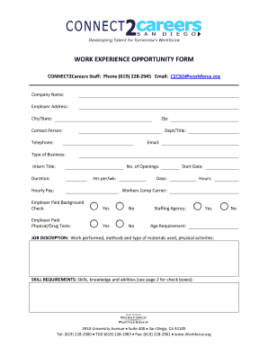 WORK EXPERIENCE OPPORTUNITY FORM - San Diego Workforce ...