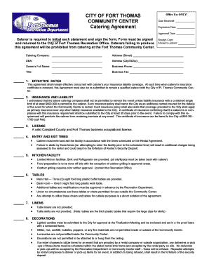 Catering Agreement - Fort Thomas, KY - ftthomas