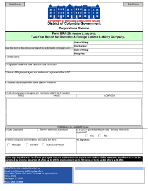 Print Form District of Columbia Government Corporations Division Form BRA29