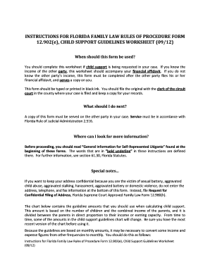 Florida Child Support Guidelines Worksheet Fillable   Fill ...